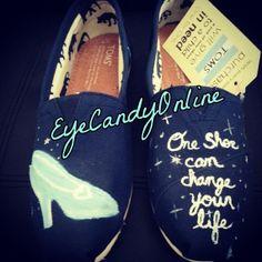 Cinderella Inspired Hand Painted Custom Shoes (Vans, Toms, Bobs, etc.)