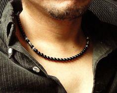 Mens Black Onyx Necklace Handmade Black Stone by mamisgemstudio, $29.95