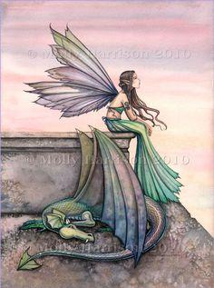 Molly Harrison Art   Fairy Dragon Art Print by Molly Harrison by MollyHarrisonArt