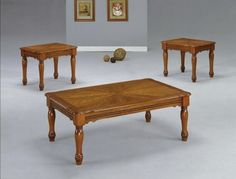3 PC STANTON OAK FINISH WOOD COFFEE AND END TABLE SET WITH TURNED LEGS  -Click image twice for more info - See a larger selection of coffee table sets at http://zcoffeetables.com/product-category/coffee-table-sets/ - home, home decor, home ideas, furniture, gift ideas,