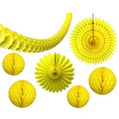 7-Piece Yellow Honeycomb Decoration Set - Made in USA – Devra Party Art Hanging Paper Lanterns, Hanging Garland, Lanterns Decor, Yellow Party Decorations, Honeycomb Decorations, Halloween Decorations, Tissue Pom Poms, Tissue Paper Flowers, Carnival Party Supplies