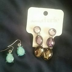 Earrings bundle! Purple and gray earrings from Charming Charlie and pretty blue earrings (not sure where I got them). Make an offer! Charming Charlie Jewelry Earrings