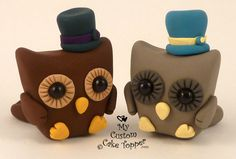 Cute Owl Same Sex Wedding Cake Toppers by MyCustomCakeTopper, $43.00