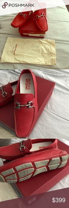 Salvatore Ferragamo driver gancio shoes in red Red pebbles leather, extremely comfortable, edgy, trendy, beautiful bright red, mint condition, worn once size 9.5 Ferragamo Shoes Loafers & Slip-Ons