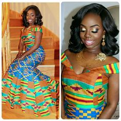 Hey Damsels, Have you checked out the latest Kente styles? It is true that Kente… African Dresses For Women, African Print Dresses, African Attire, African Wear, African Women, African Prints, African Style, African Outfits, African Patterns