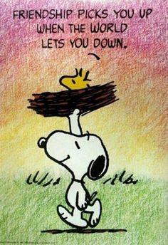 Happy Friday, everyone!  ♡♡♡ Friendship Picks You Up quotes friendship quote friend snoopy friendship quote friendship quotes woodstock