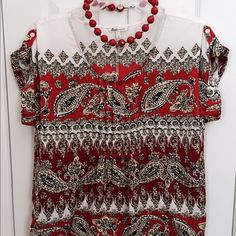 BASS Multi patterned paisley blouse Summer ready top Bass Tops Blouses