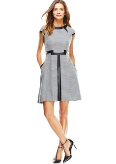 JULIA JORDAN Cap Sleeve Houndstooth Dress with Leather Details