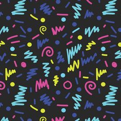memphis shapes bright 80s rad design by charlottewinter on Spoonflower - custom fabric