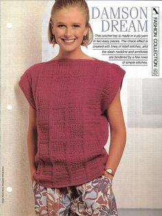 Crochet pattern  Woman's top Damson Dream  by MyPatternsCollection