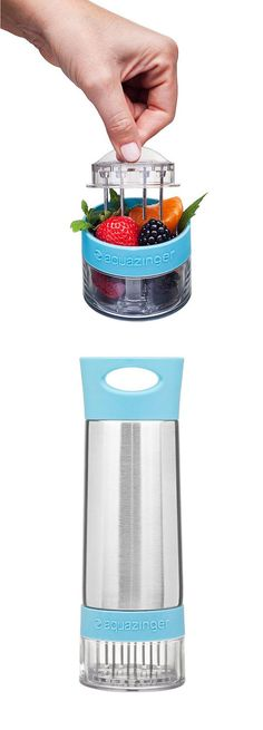 Subtly infuse your water with all natural ingredients such as cucumber, lemon, strawberry, blackberry, raspberry or mint with this stainless steel water bottle. The bottom-mounted grinder retains the ground pulp of your ingredients, but allows the pure extracted flavors to travel through to the water. You might actually drink more water with this!