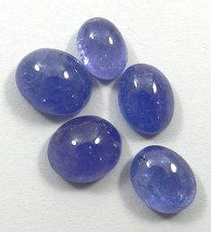 5PC 12.75CT Shining Gems Natural Tanzanite Oval Cabochon Fine Jewelry Gemstone