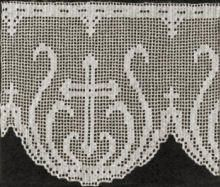 Cross & Palm Religious Edging Vintage Filet Crochet Pattern for download
