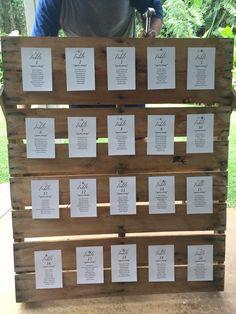 Wedding pallet seating chart.