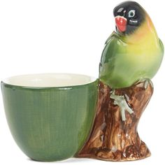 Quail Green Love Bird Stoneware Egg Cup (1,410 INR) ❤ liked on Polyvore featuring home, kitchen & dining, dinnerware, easter dinnerware, green dinnerware, stoneware cups, handmade stoneware dinnerware and green stoneware dinnerware