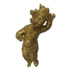 """Tall statue of Putti in motion. Made of wood and gesso with gold gilding. On back has old mounting bracket. Good condition, some gilding loss (se photos). Lucite base is 7 ½"""" x 7 ½"""". Panning For Gold, Gold Gilding, Mounting Brackets, Made Of Wood, Blue Moon, Vintage Designs, Renaissance, Vintage Antiques, Lion Sculpture"""