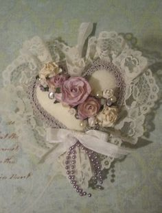 Pretty handmade, embellished heart~❥