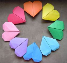 Origami colorful heart decorations