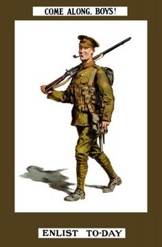 Vintage World War I poster of a smiling British soldier marching along with his rifle.