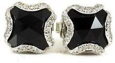 John Hardy Sterling Silver .36tcw Batu Black Chalcedony Diamond Earrings