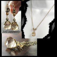 Golden Shadow Crystal Necklace Swarovski Ginger Champagne Crystal Pendant Drop Necklace Antique Gold Brass Vine. $32.00, via Etsy.