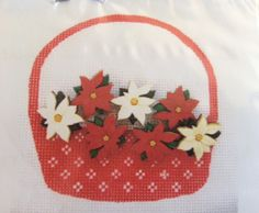 Basket with poinsettia buttons