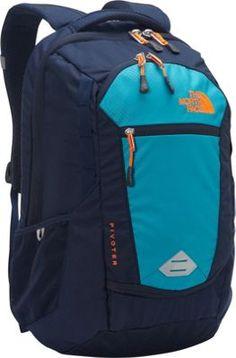 The North Face Pivoter Laptop Backpack Enamel Blue/Shocking Orange - via eBags.com!