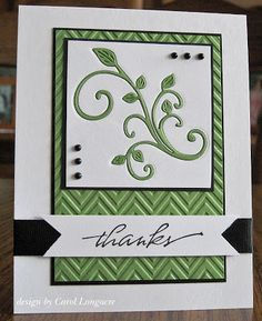 handcrafted thank you card ... white and green with black ink and embellishments ... luv the embedded embossed leaf flourish ... chevron embossing folder texture for main panel ... both panels matted in black ... luv the clean formal look ...