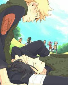 Sasuke is so beautiful I understand why Naruto is staring at him >> Dear. It's a SasuNaru fanart. That's why Naruto os staring at him. Naruto Shippuden Sasuke, Sasunaru, Anime Naruto, Kakashi, Naruto Und Sasuke, Narusaku, Naruto Cute, Naruhina, Sasuke And Naruto Love