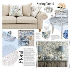 """""""Spring Florals"""" by giogiota ❤ liked on Polyvore featuring interior, interiors, interior design, home, home decor, interior decorating, Creative Displays, Pavilion Broadway, Kartell and Boho Boutique"""