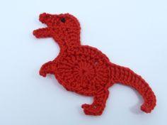 Crochetar Applique Vermelho Dinossauro Tiranossauro -  /    Crochet Applique Red Tyrannosaurus Dinosaur -
