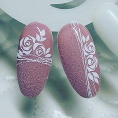 Swirl Nail Art, Rose Nail Art, Floral Nail Art, Rose Nails, Gel Nail Art, Flower Nails, Pink Nails, Acrylic Nails, Nail Art Designs