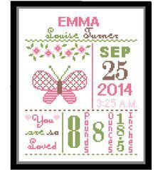 1 Cross Stitch custom Pattern Baby Girl par ZindagiDesigns sur Etsy