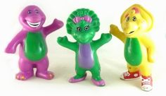 Barney PVC Mini Figurine Lot Matching Set 1996 3 5 Cake Toppers cakepins.com