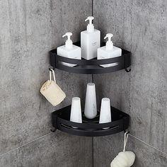 12 Creative Triangle Bathroom Shelf Ideas For Unique Bathroom Organization - Bath/Laundry room - # Bathroom Corner Shelf, Corner Shower Caddy, Bathroom Rack, Bathroom Organization, Bathroom Beadboard, Bathroom Hardware, Organization Ideas, Modern Bathroom, Small Bathroom
