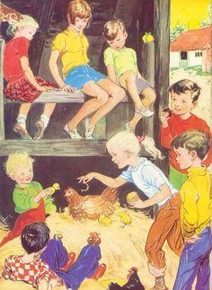 Fun farm children's book illustration Dorothy Heather - 12th Holiday Book Enid Blyton