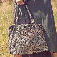 SALE Ainsley Bag in Filigree Empire Black Oilcloth  by WylderJane, $90.00