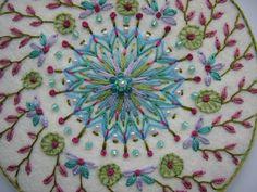 Mandala - Lazy Daisy / Detached Chain Stitch with beads