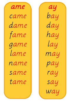 Word Family word lists - ame and ay Phonics Flashcards, Phonics Rules, Phonics Lessons, Phonics Words, English Grammar For Kids, English Phonics, Learn English Words, Kindergarten Reading Activities, Phonics Reading