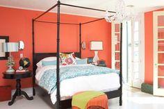 coral and aqua bedroom <3