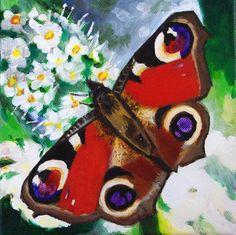 Origineel schilderij van een vlinder met bloemen door minimani, €90,00