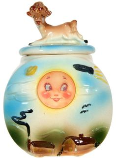 "Antique American bisque ""Cow over the moon"" cookie jar circa 1940s. Adorable! This would look so sweet in my kitchen."