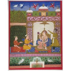 A Prince listening to music, symbolizing a musical mode (Malava Ragaputra). Opaque watercolors on paper, Deccani Style, India, Aurangabad, Maharashtra state, ca. 1675-1680, Seated within a luxuriously decorated pavilion, a prince sprinkles himself with perfumed water while being fanned by an attendant and entertained by musicians. The set to which this painting belonged followed a classification system established by the Hindu priest Mesakarna in a musical treatise of about 1570. ...