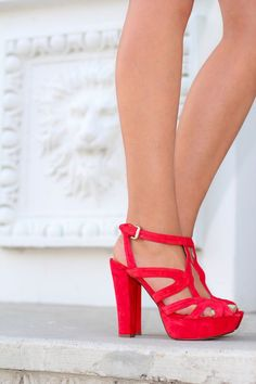 Red heeled sandals. Summer shoes ideas 2016. Love these so much!!