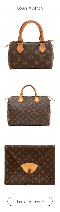 """""""Louis Vuitton"""" by dinyill-wallace ❤ liked on Polyvore featuring bags, handbags, brown, top handle bags, top handle handbags, mini handbags, zip handle bags, brown hand bags, hand bags and brown canvas bag"""