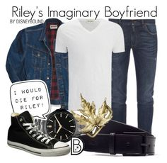 Riley's Imaginary Boyfriend by leslieakay on Polyvore featuring Converse, Armani Exchange, Dolce&Gabbana, Lacoste, Wrangler, American Vintage, disney, disneybound, MensFashion and disneycharacter