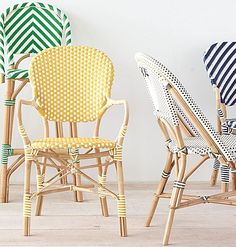 🌟Tante S!fr@ loves this📌🌟Chevron Riviera Stools – Kelly Green Home Decor Furniture, Furniture Design, French Bistro Chairs, Restaurant Interior Design, Cafe Chairs, Home Decor Inspiration, Rattan, Outdoor Chairs, Armchair