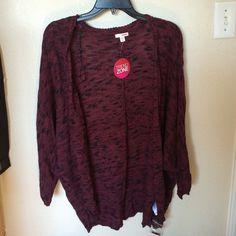 NWT marled coccoon oversized cardigan in burgundy 100% cotton BONGO Sweaters Cardigans