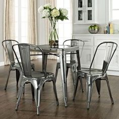 Metal Kitchen Tables Crosley Steel Cabinets 12 Best Chairs Images Dining Room Rooms Lunch Galvanized Table Amp Gt Anything
