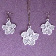 FSL Flower Earrings and Pendant 5 - 4x4 | What's New | Machine Embroidery Designs | SWAKembroidery.com Ace Points Embroidery